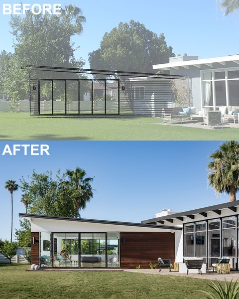 Modern home with outdoor, front yard, pavers patio, porch, deck, and grass. Before and After Photo 2 of Modern Manor