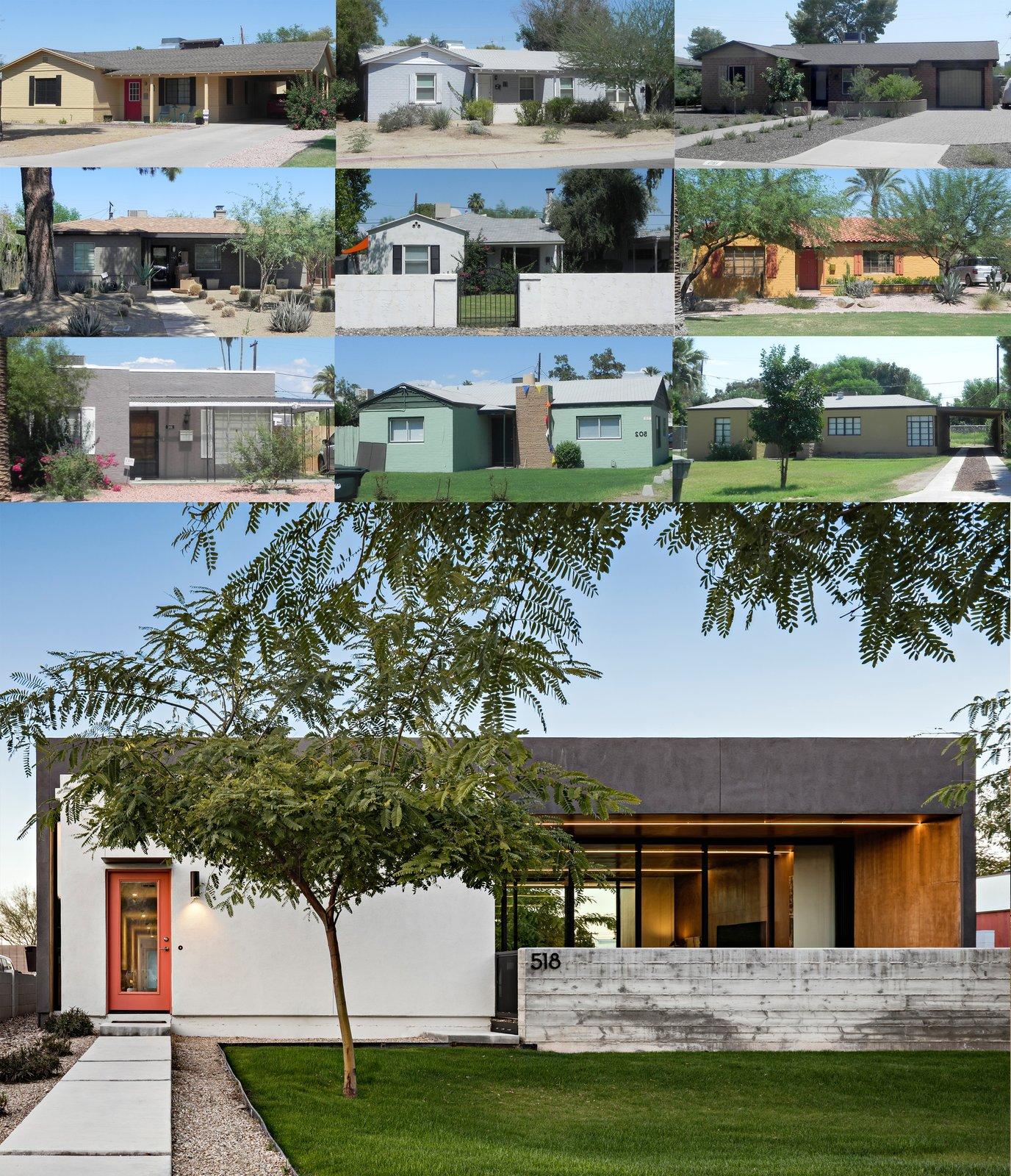 Compilation of the front elevations of the historic homes in the neighborhood and the resulting modern elevation of 'Link' Tagged: Outdoor. Link House by The Ranch Mine