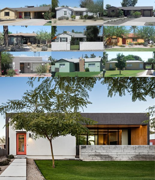 Modern home with outdoor. Compilation of the front elevations of the historic homes in the neighborhood and the resulting modern elevation of 'Link' Photo  of Link House