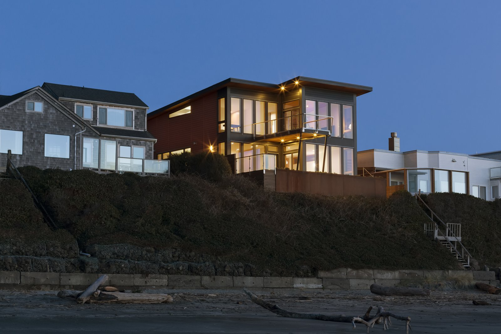 View from the beach  Roads End Beach House by Giulietti / Schouten AIA Architects