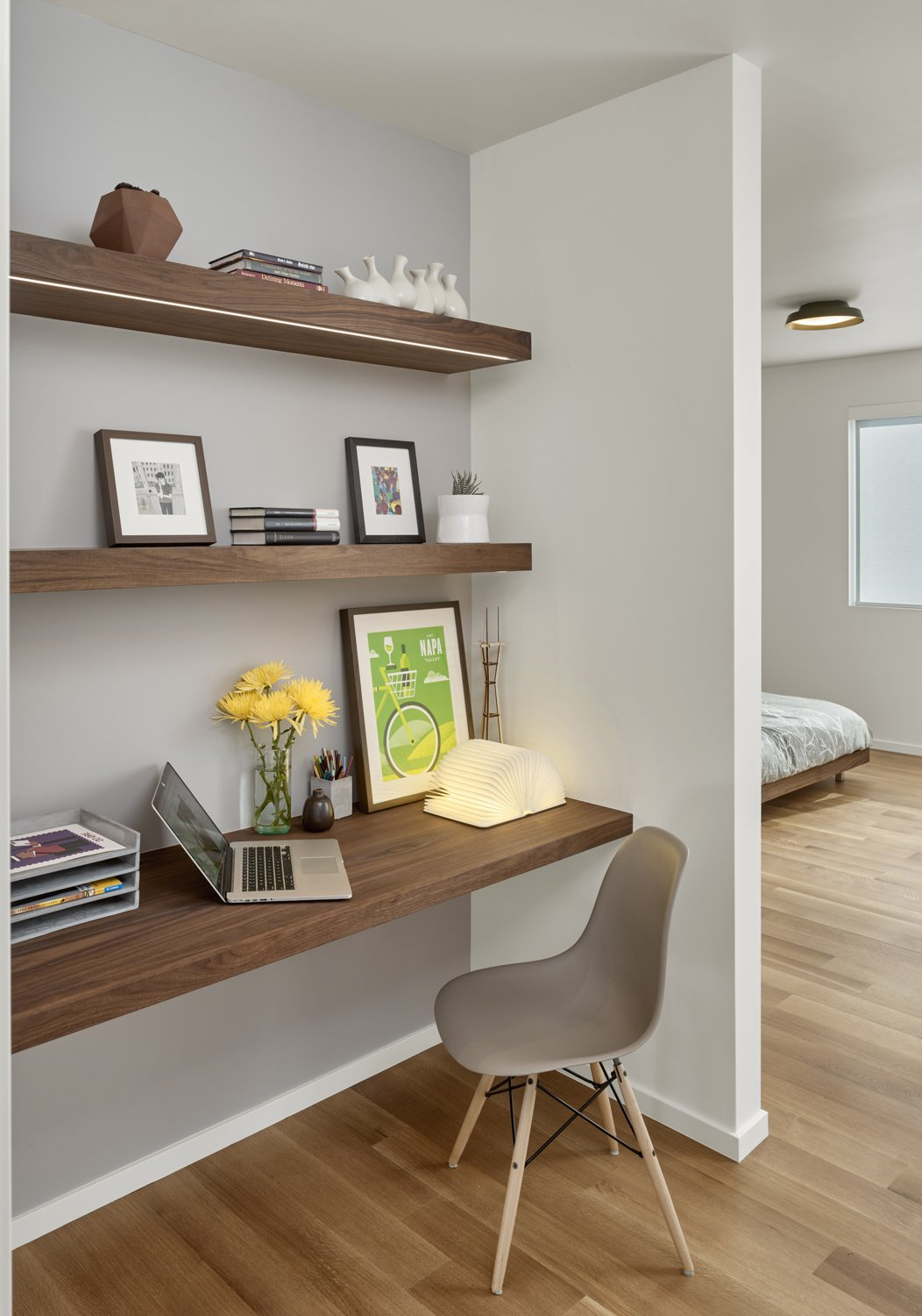 The office nook features a custom desk and shelf by Matt Eastvold  Trestle Glen Modern by Knock Architecture + Design