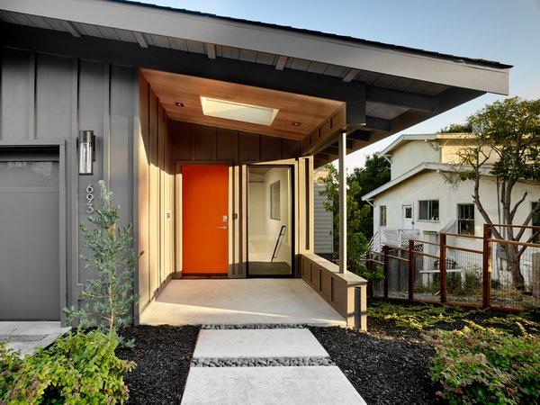 Siding is Hardi-Panel board and batten. The ceiling is rift oak. Photo  of Trestle Glen Modern modern home