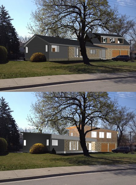 Most of the design work throughout the prolonged design phase was centered around the development of second suite above a new 2 car garage.  Here, 2 alternate roof options were examined. Photo 5 of Burlington Residence modern home