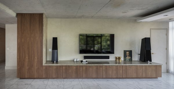 The TV Unit is at an oversized scale relative to the equipment it houses - it was in fact scaled relative to the space and not the equipment. Photo 15 of Thompson Hotel Private Suite modern home