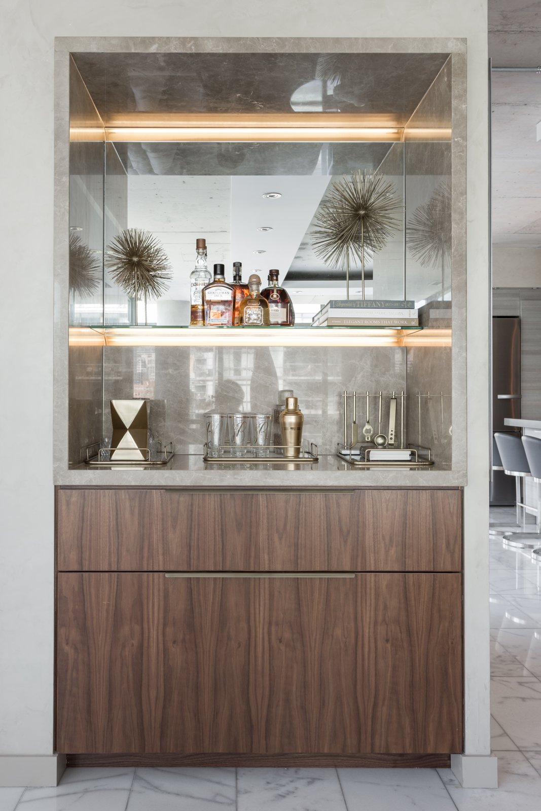 The Bar Credenza  Thompson Hotel Private Suite by ANTHONY PROVENZANO ARCHITECTS