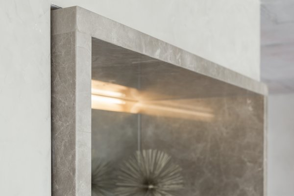 """The subtle shifts: the typical detail was that stone would always extend 2"""" beyond it's adjacent surface. Photo 20 of Thompson Hotel Private Suite modern home"""