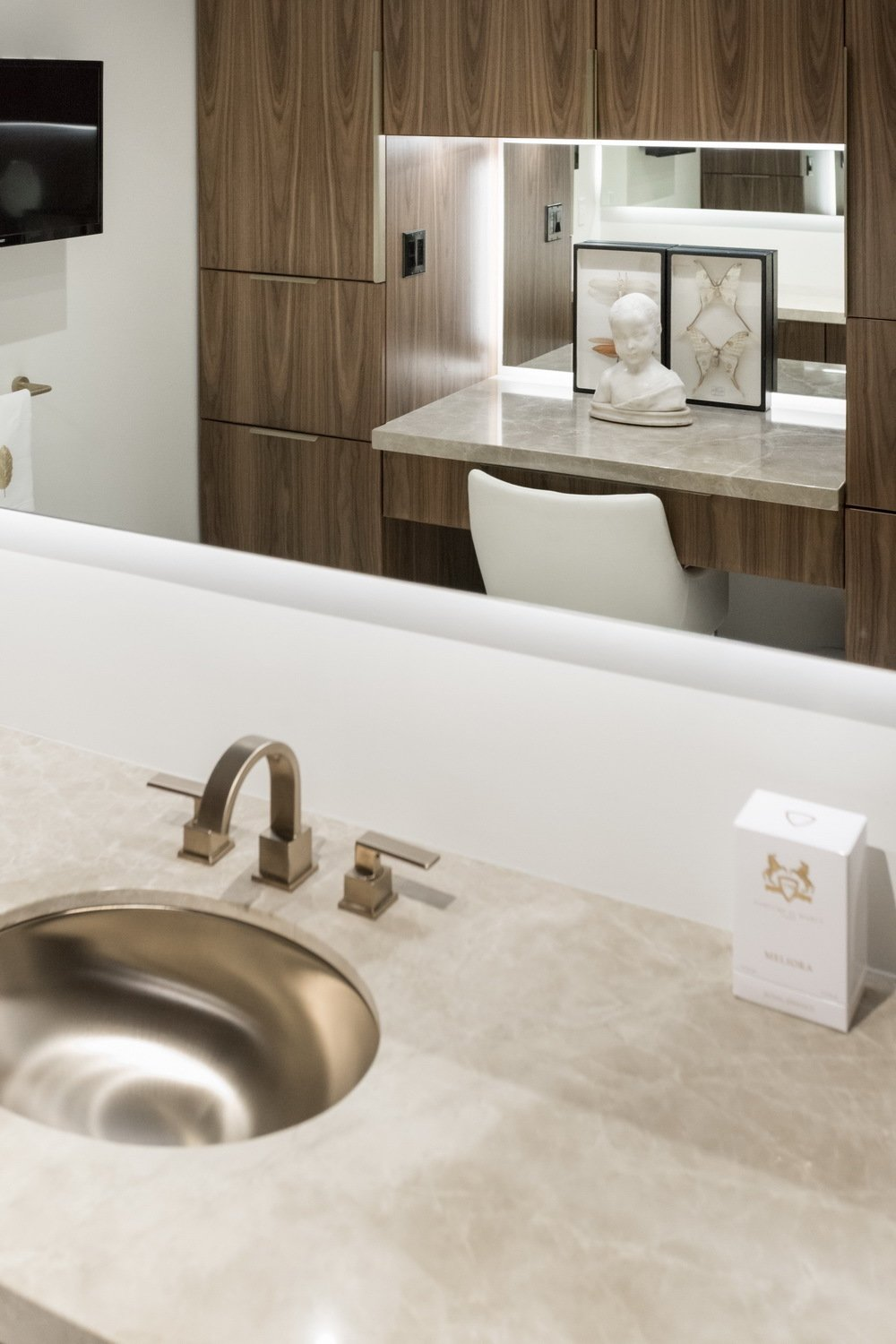 In tight quarters the mirrors help to expand views.  Thompson Hotel Private Suite by ANTHONY PROVENZANO ARCHITECTS