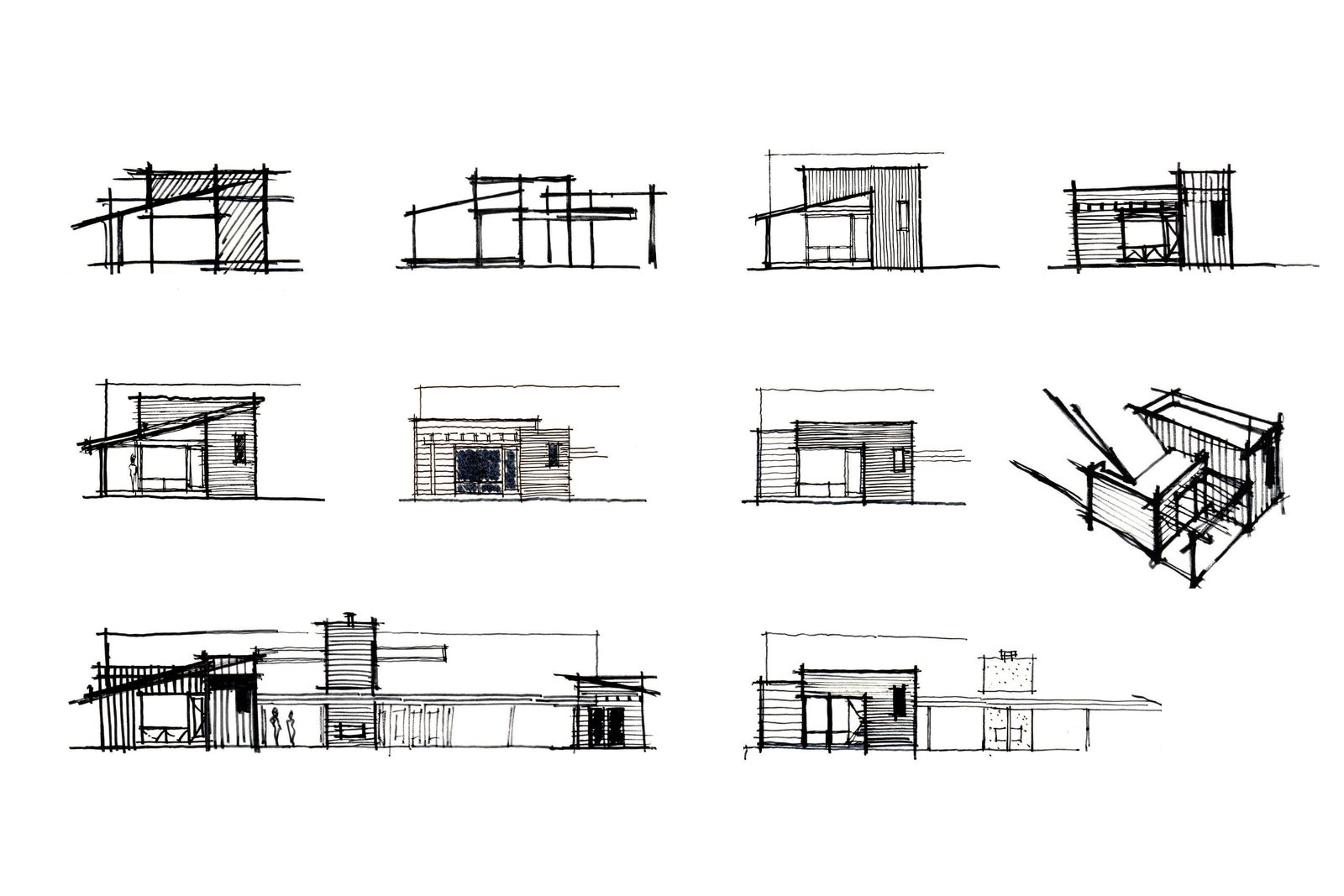 [schematic design sketches // myd studio, inc.] Tagged: Exterior, House, Wood Siding Material, and Flat RoofLine.  Villa Park Modern by MYD studio, inc. from Architectural Drawings