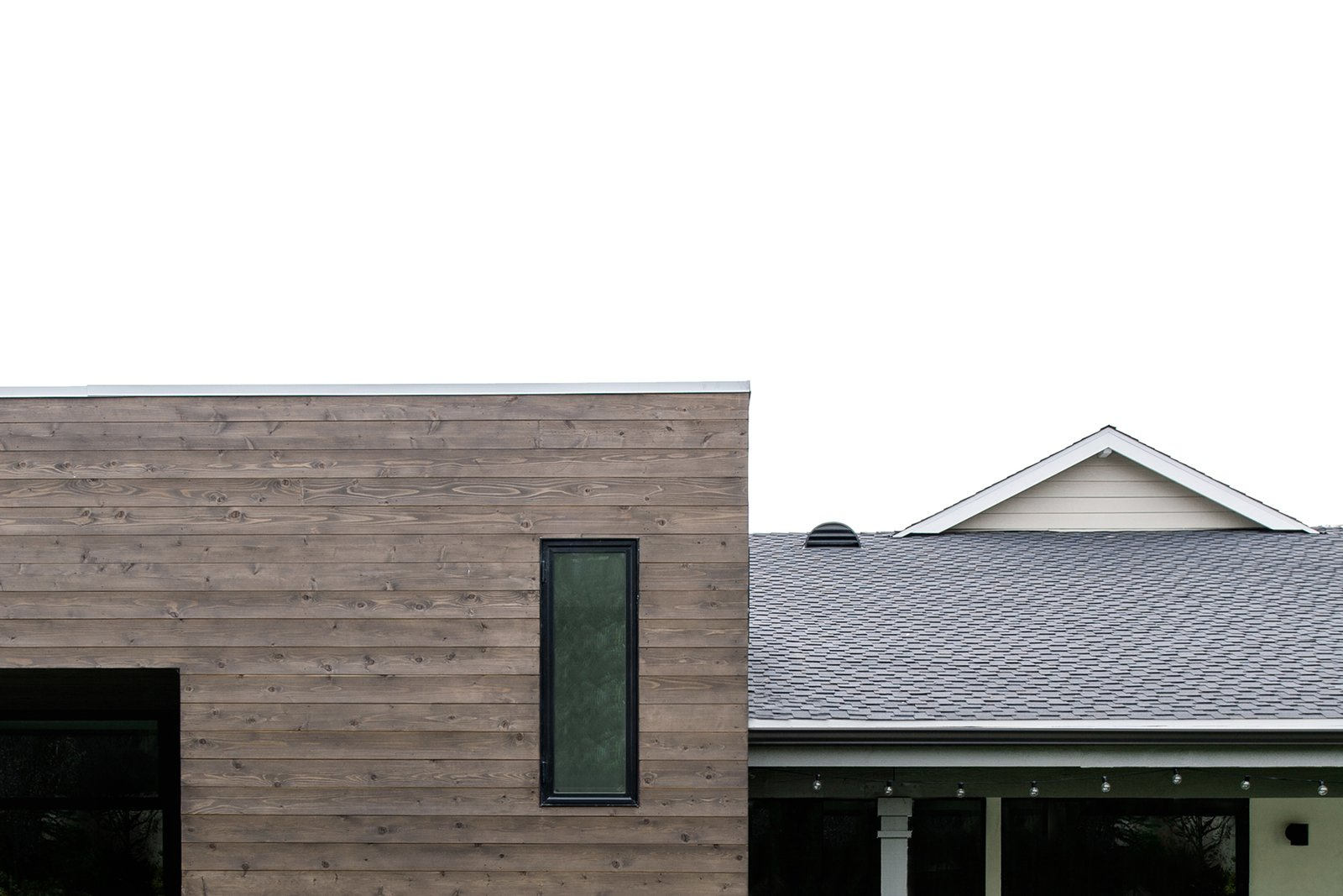cedar cladding + flat roof at rear addition  [villa park modern addition + renovation, california]