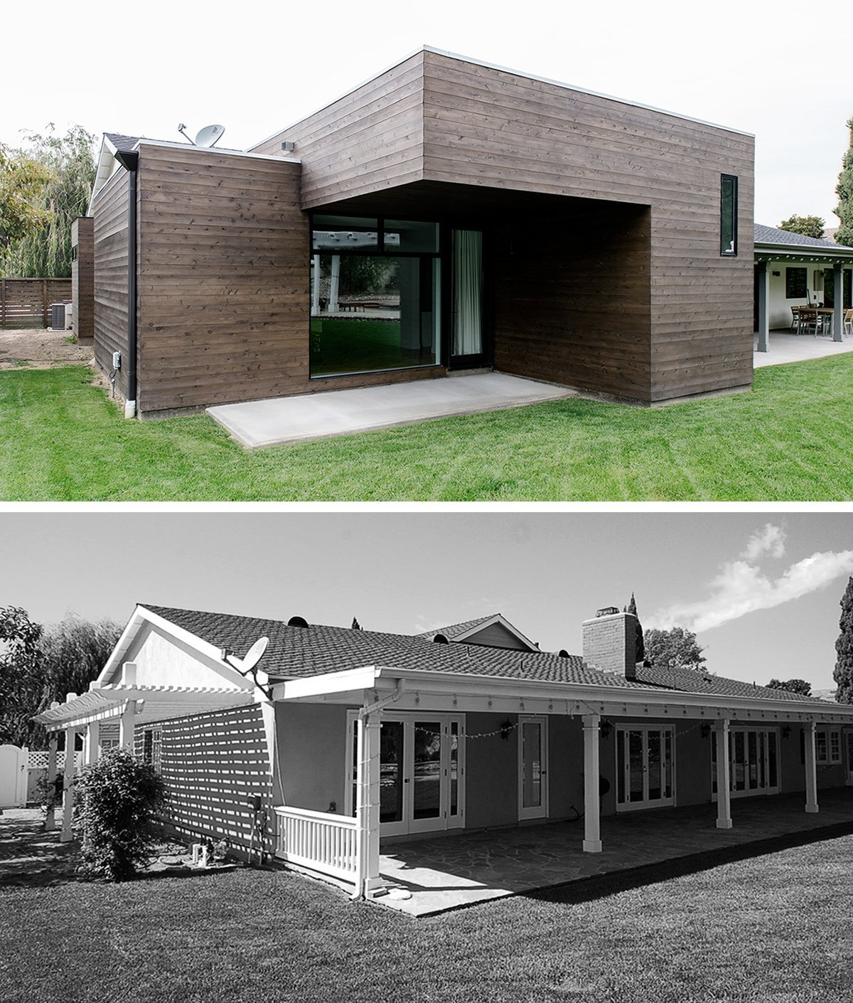 AFTER / BEFORE   [addition at rear, villa park modern] Tagged: Outdoor, Hardscapes, Grass, Large Patio, Porch, Deck, Wood Patio, Porch, Deck, Concrete Patio, Porch, Deck, and Horizontal Fences, Wall.  Villa Park Modern by MYD studio, inc.