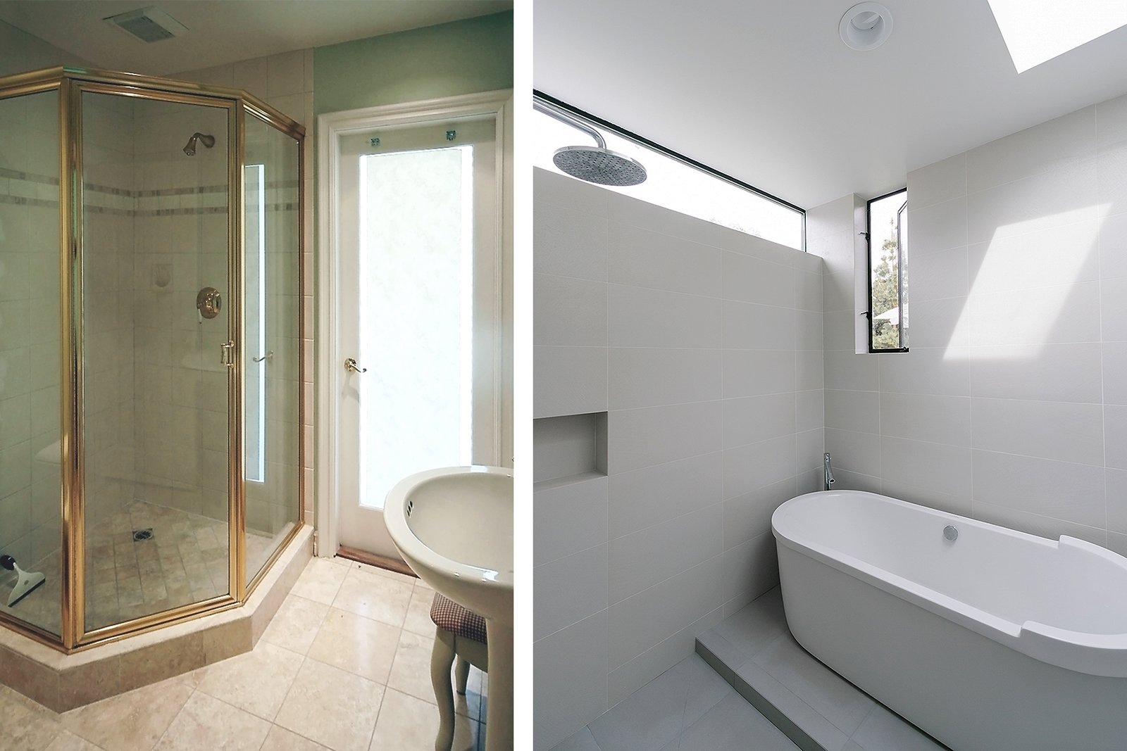 BEFORE / AFTER  [master bathroom, villa park modern] Tagged: Bath Room.  Villa Park Modern by MYD studio, inc.