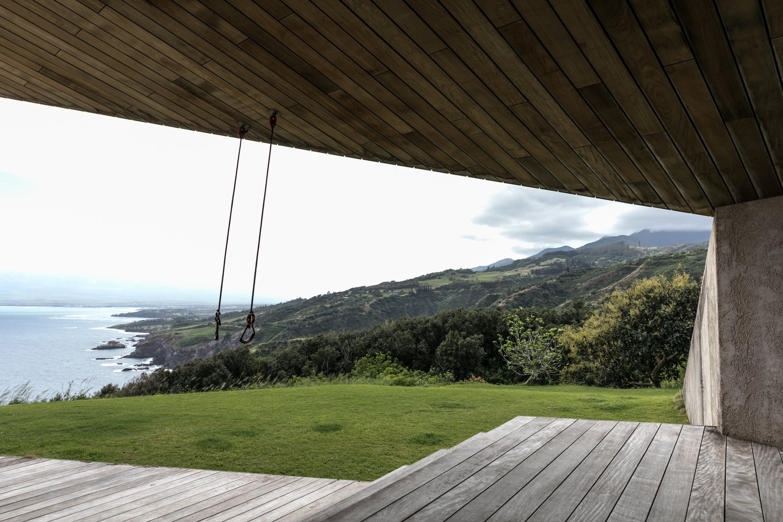Tagged: Hallway and Medium Hardwood Floor.  The Clifftop House by Modern on Maui - Liam Ball