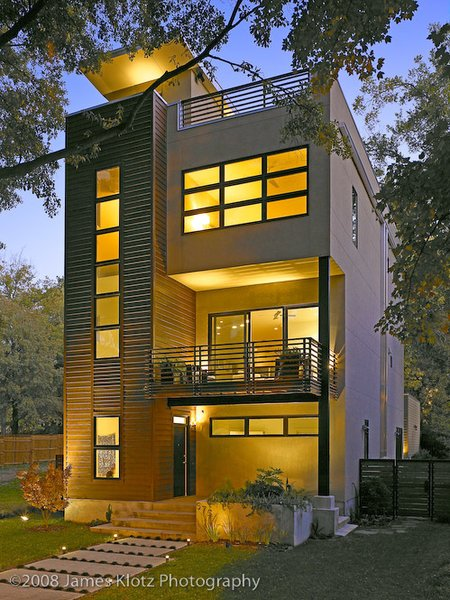 Modern home with table, bench, lamps, outdoor, and medium hardwood floor. Photo 2 of East Residence