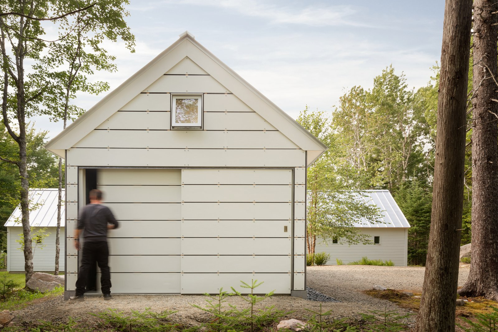 Barn Storage Tagged: Outdoor, Side Yard, Walkways, and Trees.  The Long Studio by 30X40 Design Workshop