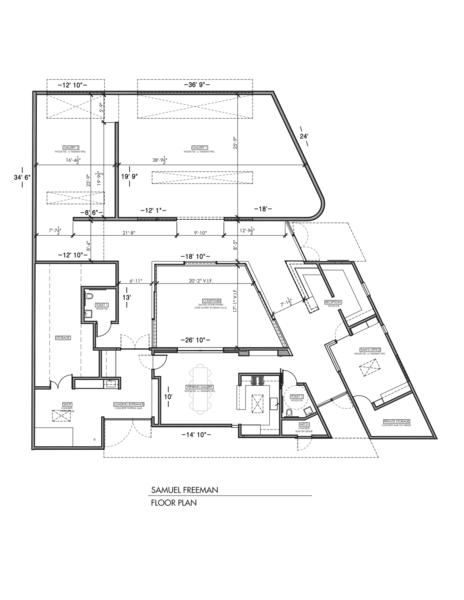 Floor Plan - W3 Architects Photo 7 of Samuel Freeman Gallery - Culver City Arts District modern home