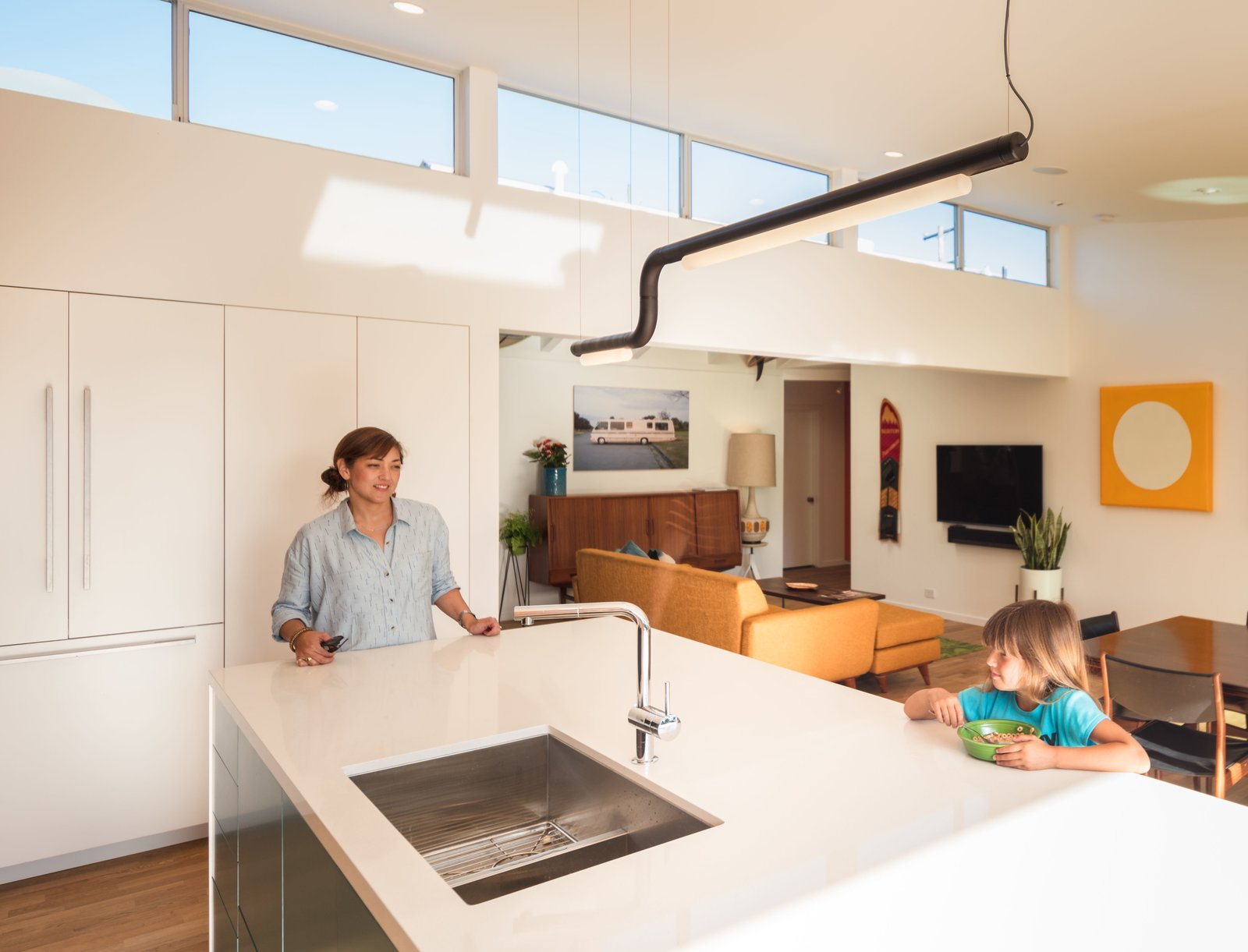 Pipeline LED light by ANDlight in Vancouver + Built-in fridge by Fisher Paykel  The Beach Lab by Surfside Projects