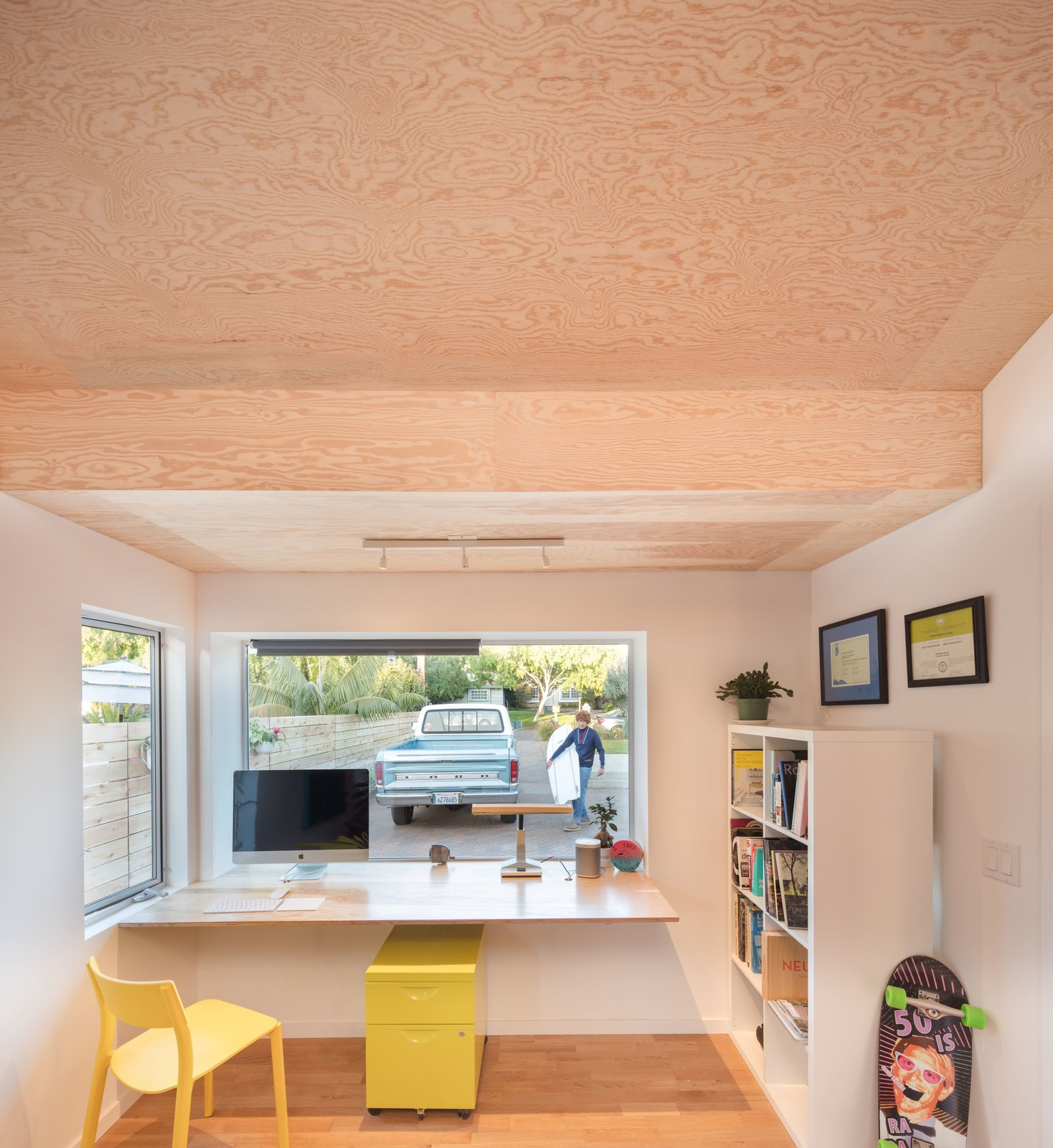 Marine Grade-A Douglas fir plywood ceiling & desk top  The Beach Lab by Surfside Projects