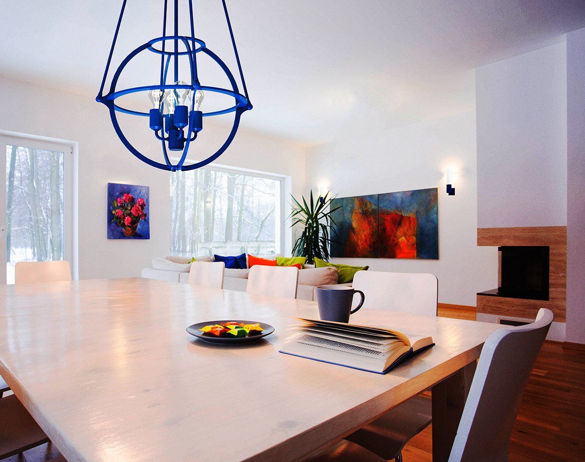 "The Cosmo Pendant by Boyd Lighting comes in 12 powder coat colors, like ""Cadet"" blue, to pop in any interior.  Delicious Dining Room Lighting by Boyd Lighting"