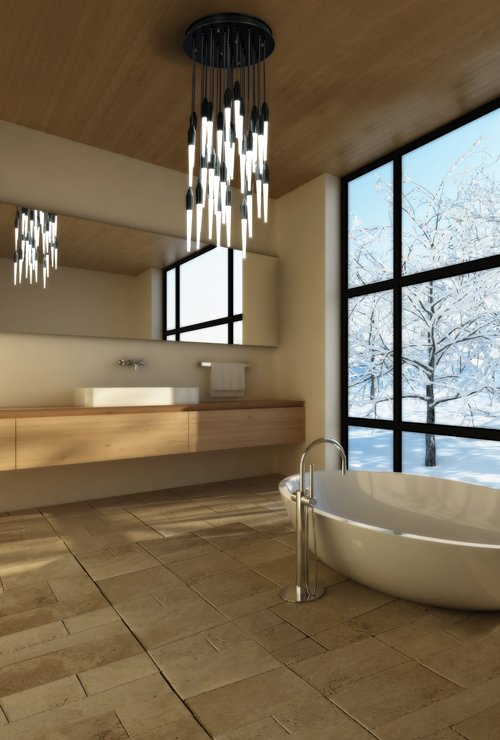 "The Icicle Disk features clear or etched glass ""icicles"" that hang from cloth covered cords, which are available in a variety of colors. #lighting #ceilingfixture #bathroom #BoydLighting  60+ Modern Lighting Solutions by Dwell from Boyd Lighting Freshens Up Bathrooms"