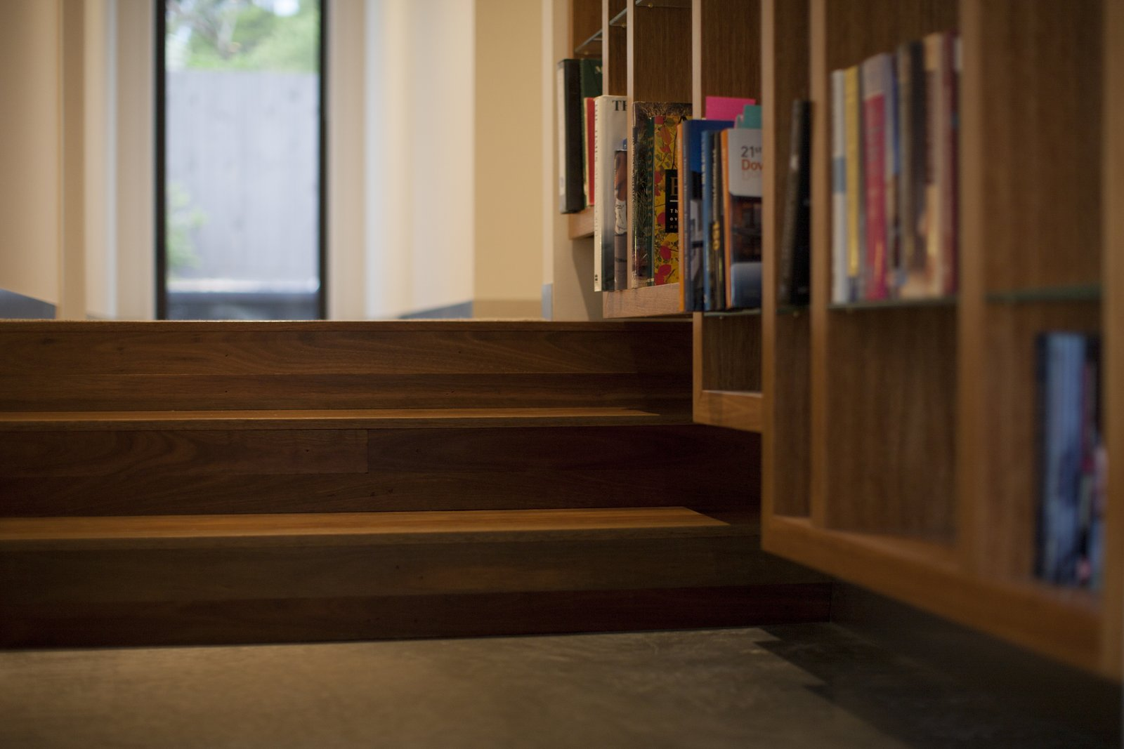 Floating Bookcase & Spotted Gum Stairs  Pod Residence by Bespoke Architects