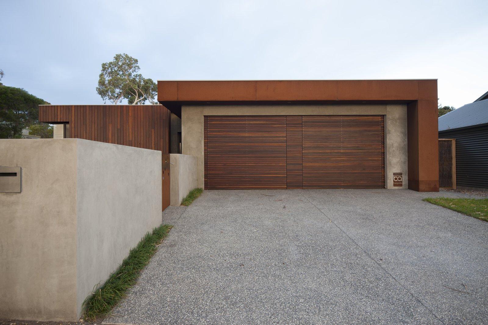 Spotted Gum Garage Doors and Coreten Eyelash Pod Residence by Bespoke Architects