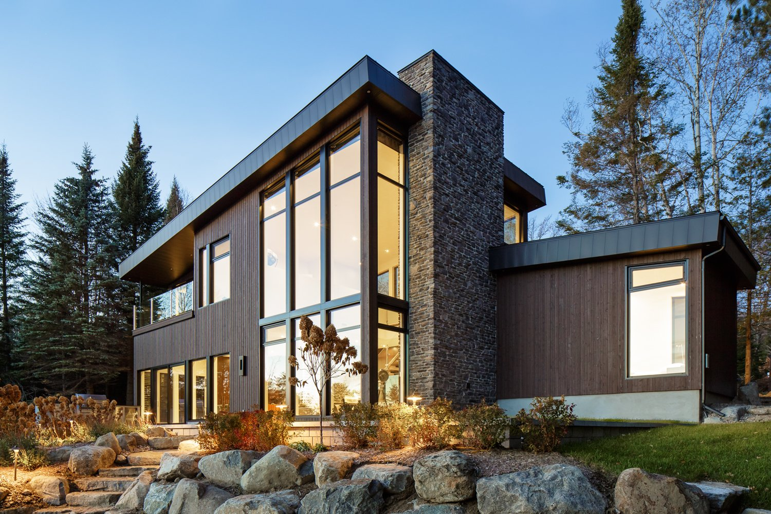 Tagged: Exterior, House, Metal Roof Material, and Wood Siding Material.  Prefab Homes by Dwell from Modern Lake Cabin