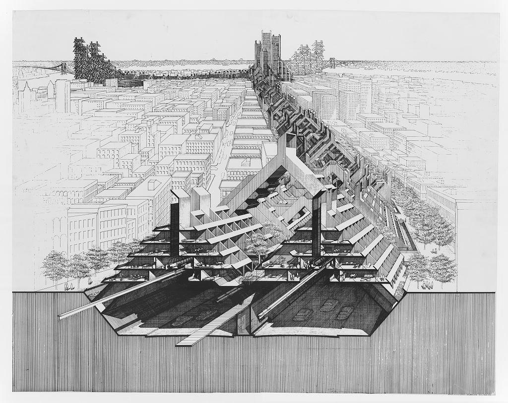 Lower Manhattan Expressway, New York City. Paul Rudolph,  architect  Metabolist Architure by Chris Deam