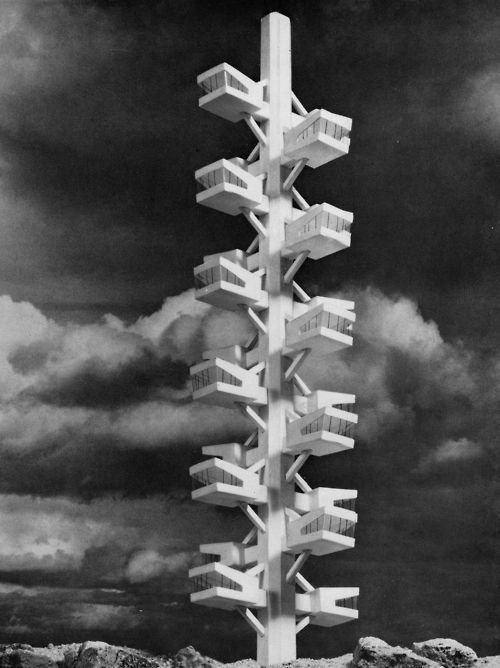 HORST PETER DOLLINGER TRANSPORTABLE CAPSULE TOWER / TRANSPORTABLER WOHNKABINENTURM, 1960s  Metabolist Architure by Chris Deam