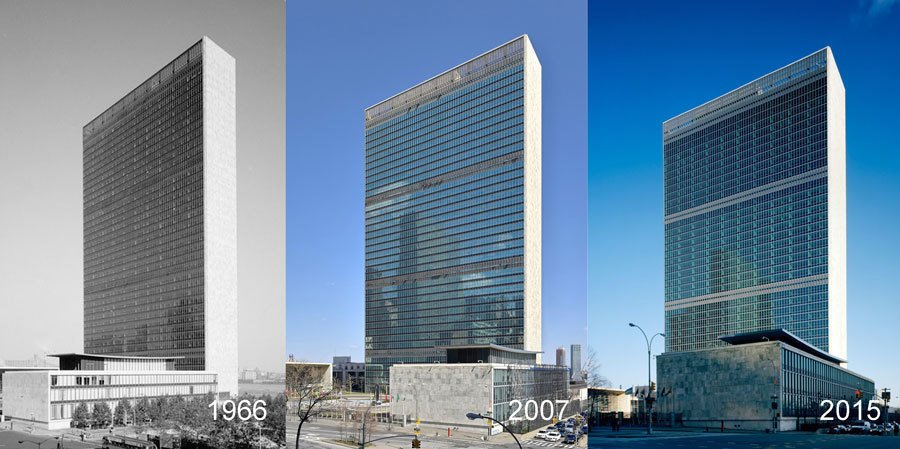United Nations Headquarters Campus Renovation of Facades  Citation of Technical Achievement  With unrepairable wall assemblies, the building required intense research to ensure that the final result was as historically accurate as possible. The restoration achieved that in addition to meeting today's standards for energy use and security.     Greatness Restored: The 2016 Modernism in America Awards by Nia Hampton