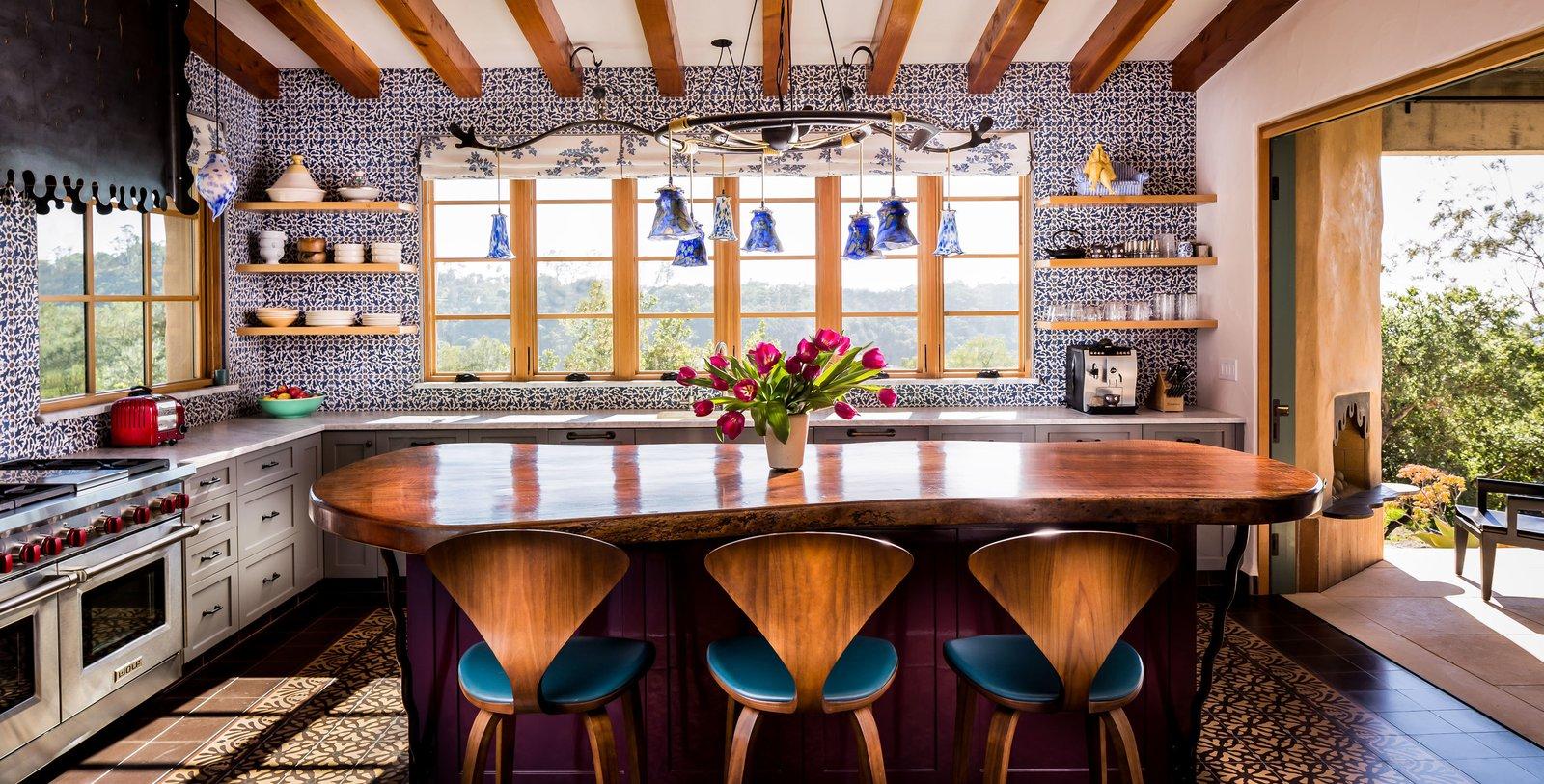 Floor using the Ablitt Flower Tile. Walls using Paul's Flower Tile.  La Roca by Jeff Shelton Architect