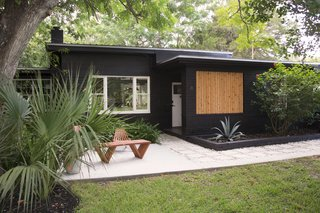 10 Modern Gardens That Freshen Up Traditional Homes - Photo 7 of 10 - Don't forget to consider the backdrop that your plants will be seen against. In Rachel and Andrew's garden—the couple behind YIELD Design Co.—they created a modern contrast between the tropical plants and the new coat of black paint on the exterior.