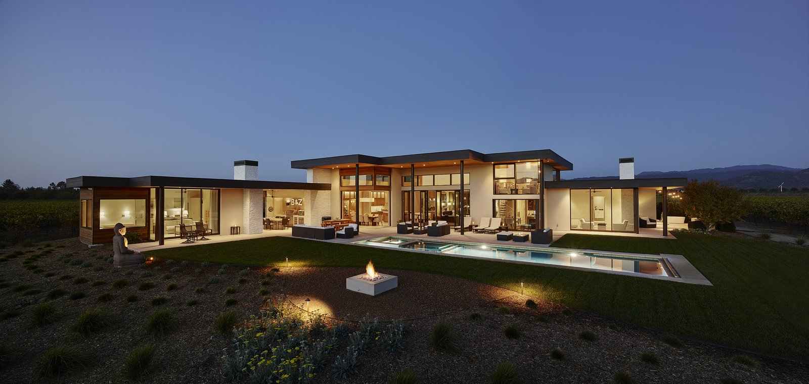 Modern Residence Rear Elevation  Modern Tranquility by Taylor Lombardo Architects