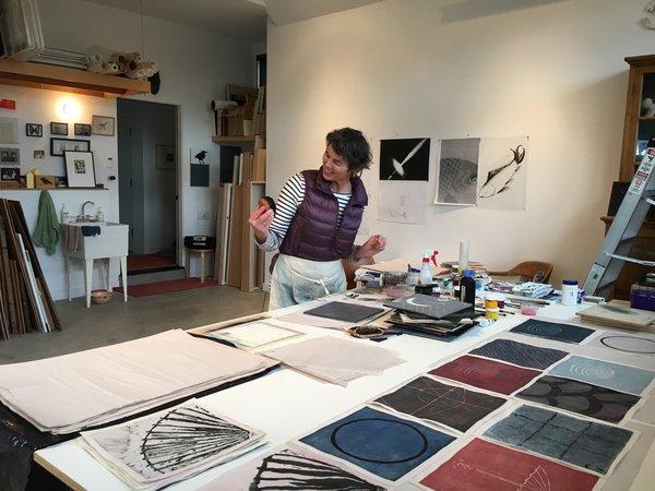 Marcia Weese in her studio in Carbondale, Colorado