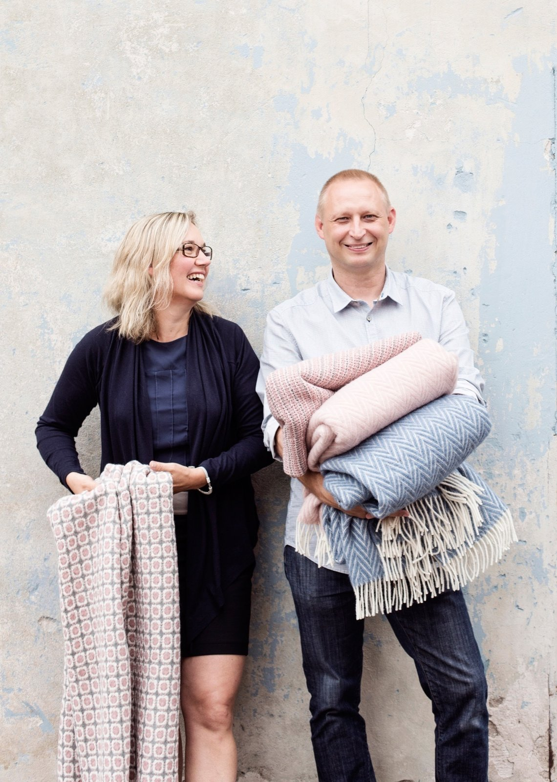 Jaana and Esko Hjelt, fourth generation weavers and owners of Lapuan Kankurit