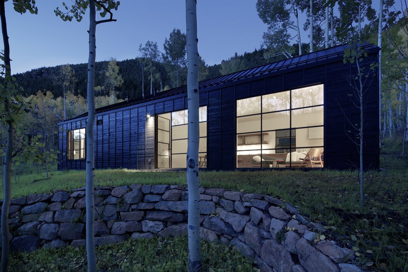 Much of the details edited away, Cottage Black is a strikingly simple, strong piece of architecture.  Photo 13 of 13 in Retreat in the Aspen Grove