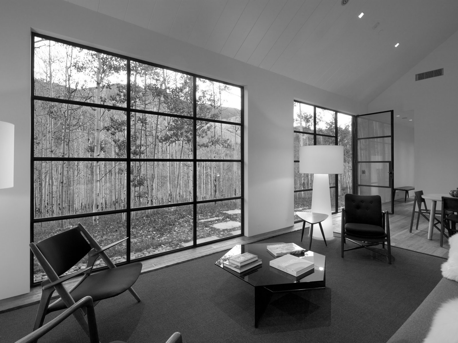 The big window and door in the living room provide a connection to the aspen trees outside.  Photo 9 of 13 in Retreat in the Aspen Grove