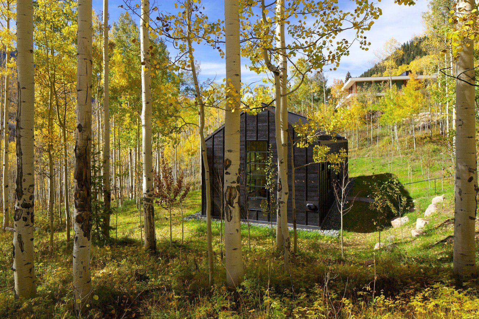 The intimate refuge was sited to be out of view from the main house.  Photo 8 of 13 in Retreat in the Aspen Grove