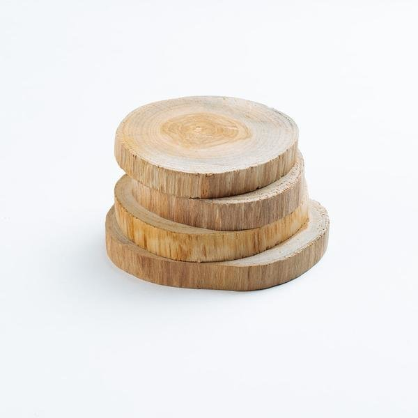 Photo 1 of 1 in Teak Wood Coasters Set of 4