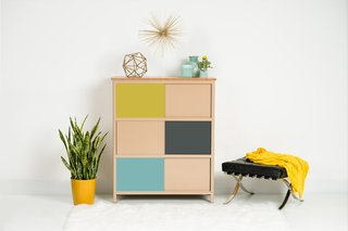 Polychrome 32 bureau in toffee, charcoal, seafoam and yield
