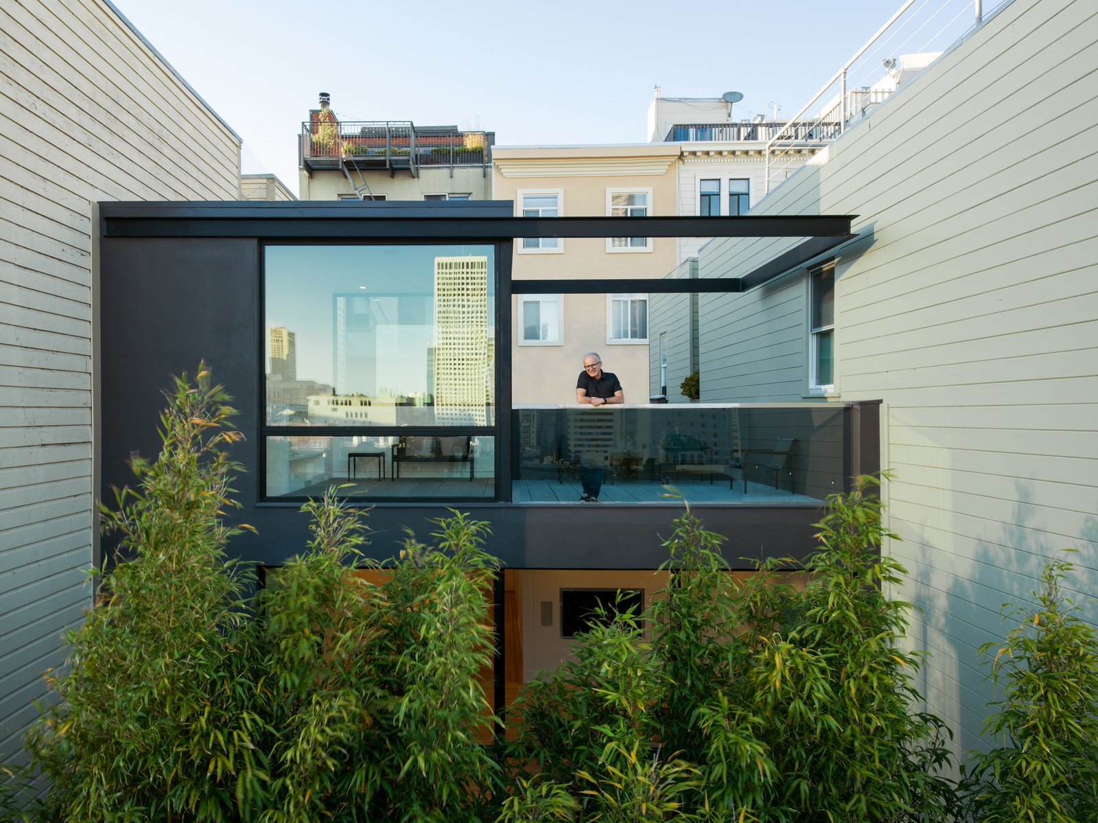 View of the Sun Room and Roof Deck from the neighboring rooftop.  Telegraph Hill Periscope by Samaha+Hart Architecture