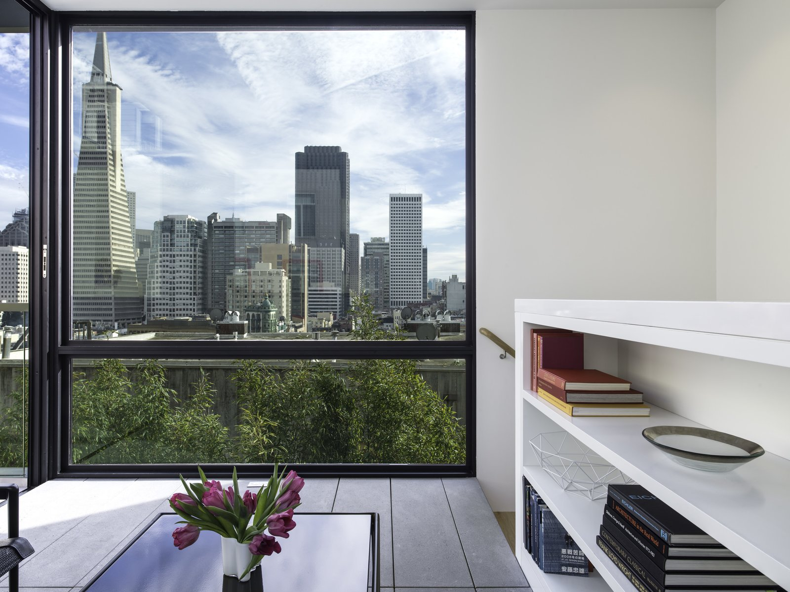 View of the San Francisco skyline from the Sun Room. The bookcase also acts as a guardrail for the stairway.