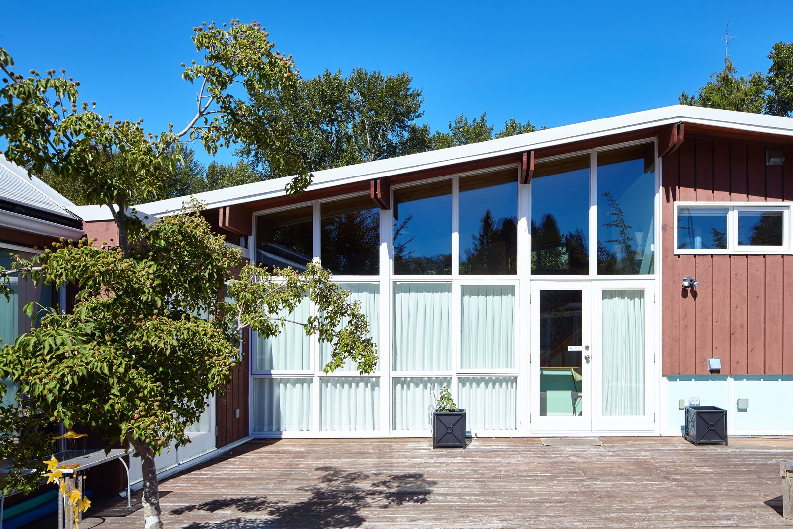 Floor-to-ceiling windows on the home's south side flood the main floor with light.  Photo 7 of 7 in Styling a Rescued Mid-Century Gem