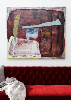 As the AR&S's featured artist of the season, Bertram's works are prominently displayed in the program's showroom. His canvas' dimensionality and dramatic color palette make them an easy choice to appear alongside our rich, new Claret Red velvet sofa.
