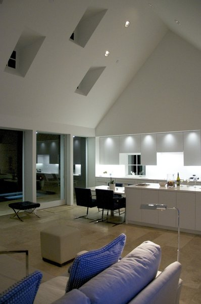 Modern home with living room, sofa, ceiling lighting, and travertine floor. interior, living space Photo 5 of The Birdhouse