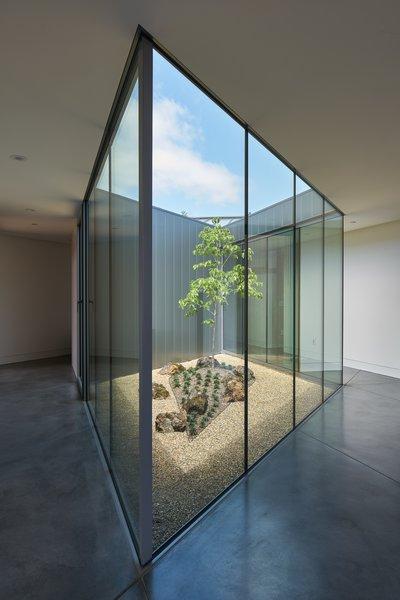 Modern home with hallway. interior atrium Photo 8 of Lake Berryessa Custom Home