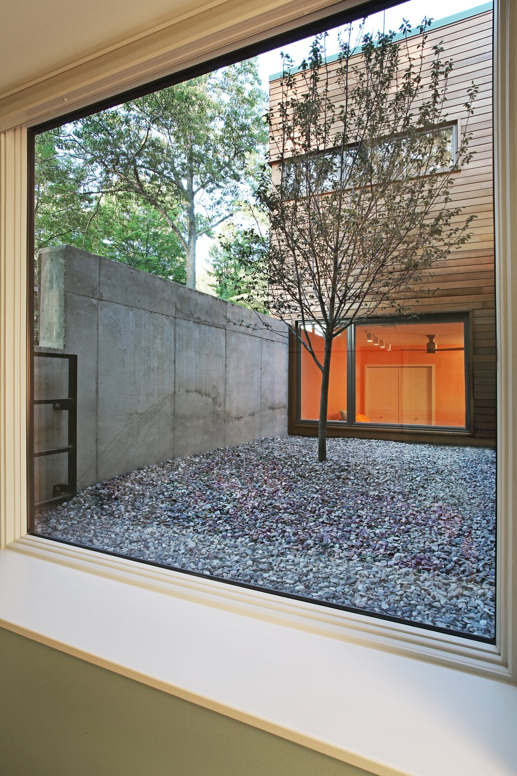 View from basement bedroom into courtyard