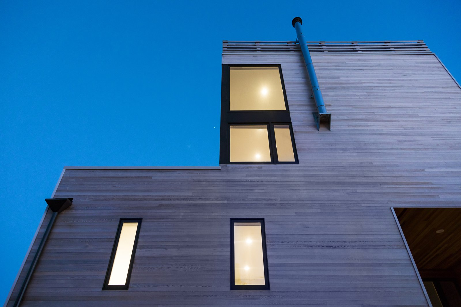 Facade step at dusk Tagged: Outdoor.  Sea Bright House by Jeff Jordan Architects