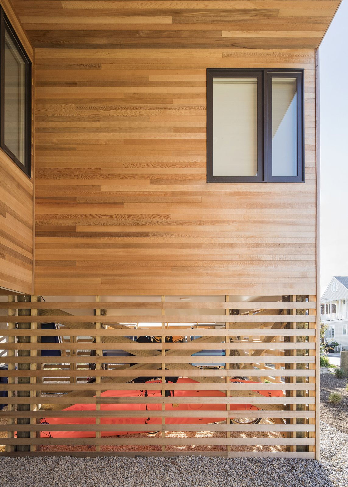 Screened gear enclosure Tagged: Outdoor, Front Yard, and Walkways.  Sea Bright House by Jeff Jordan Architects