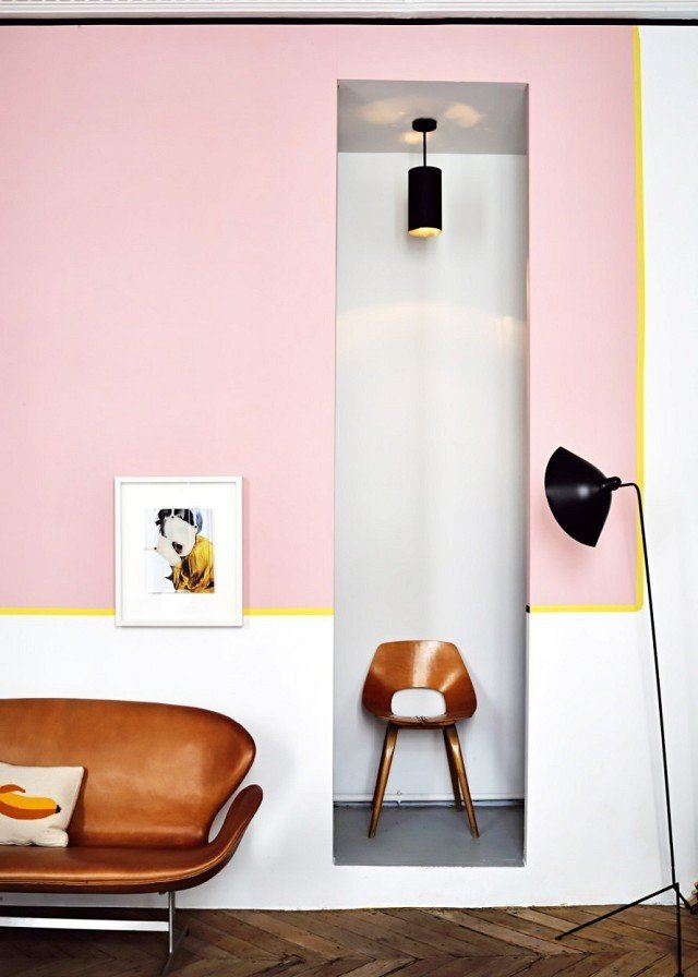 When it comes to color-blocking, chartreuse makes the perfect accent shade. The citrus yellow line stands out between pale pink and optic white to direct the eye around the perimeter of this Parisian apartment.  Photo by Didier Delmas for Marie Claire Maison  #chartreuse #colorcrush #color #yellow #design #mydomaine  Our Latest Color Crush is Perfect for Summer by MyDomaine