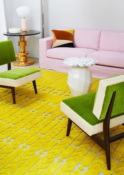 "A textural retro rug in chartreuse contrasts off pretty pinks and grassy green shades in this living room vignette. The bold yellow color is ever so slightly sour, just enough to make you pucker up in the best way.<br><br>Photo courtesy of Manufacture Cogolin<br><br>#chartreuse<span> <a href=""/discover/colorcrush"" target=""_blank"">#colorcrush</a></span><span> <a href=""/discover/color"" target=""_blank"">#color</a></span><span> <a href=""/discover/yellow"" target=""_blank"">#yellow</a></span><span> <a href=""/discover/design"" target=""_blank"">#design</a></span><span> <a href=""/discover/mydomaine"" target=""_blank"">#mydomaine</a></span>"